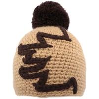 Bonnets Nyls Création Bonnet à pompon Race  Marron Clair et Chocolat