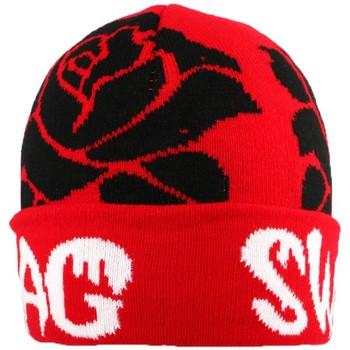 Bonnets Nyls Création Bonnet Swag Rouge et Roses Noires