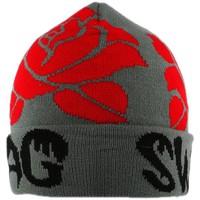 Bonnets Nyls Création Bonnet Swag Gris avec Roses Rouges