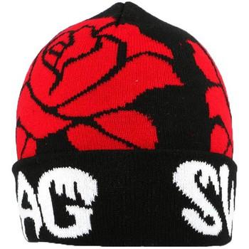 Bonnets Nyls Création Bonnet Swag Noir et Roses Rouges