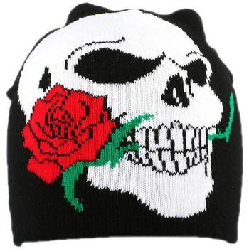 Accessoires textile Homme Bonnets Divers Bonnet Biker Noir avec rose Noir