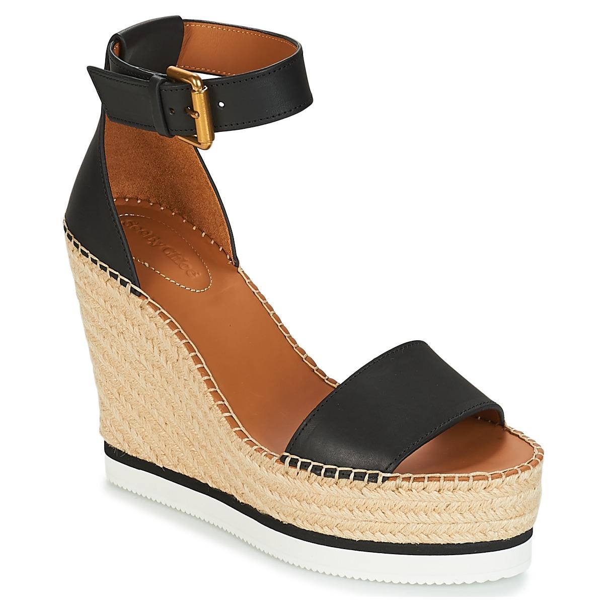 see by chlo sb26152 noir blanc livraison gratuite avec chaussures sandale. Black Bedroom Furniture Sets. Home Design Ideas
