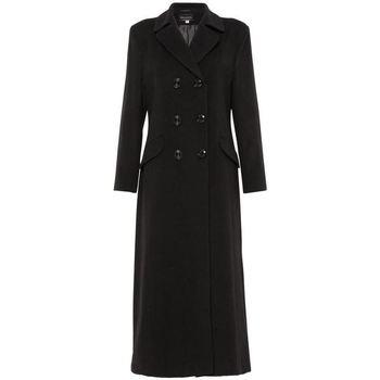 Vêtements Femme Manteaux De La Creme Manteau long ajusté à double boutonnage Black
