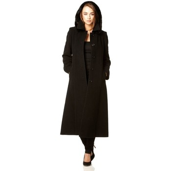 Vêtements Femme Manteaux De La Creme Cachmiere D`Hiver Manteau ave Capouche Black