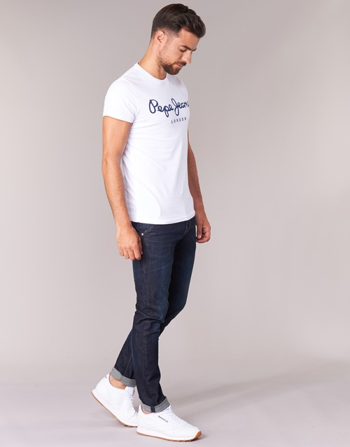 Blanc Stretch Manches Pepe Jeans Original Courtes Homme T shirts KuFJTcl31