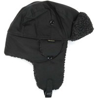 Bonnets Barbour Mens Black Fleeced Lined Trapper Hat