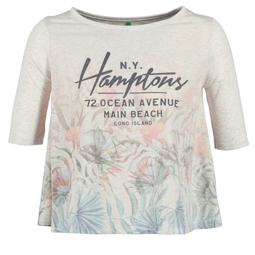 Vêtements Femme T-shirts manches courtes Benetton ESQUIQUO Blanc / Multicolore