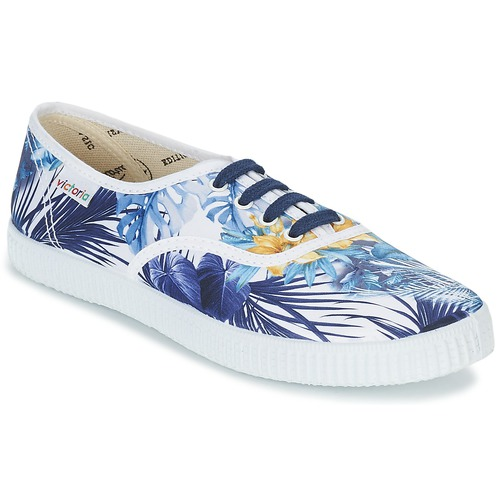 Chaussures Femme Baskets basses Victoria INGLES FLORES Y CORAZONES Blanc / Bleu