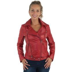 Vêtements Blousons Giovanni Blouson style perfecto en cuir  ref_gvi37206-rouge Rouge