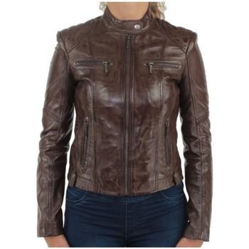 Vêtements Blousons Giovanni Blouson  Melodie en cuir ref_gvi29793-marron Marron