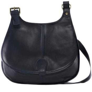 Sacs Bandoulière Oh My Bag Sac à Main CUIR souple femme - Modèle M bleu foncé