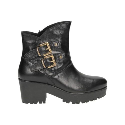 Chaussures Femme Bottines Café Noir CAFENOIR 2 FIBBIE noir