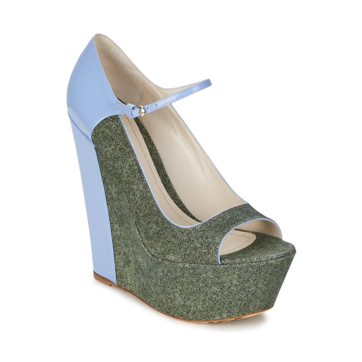 Escarpins John Galliano S54261 Bleu / Vert