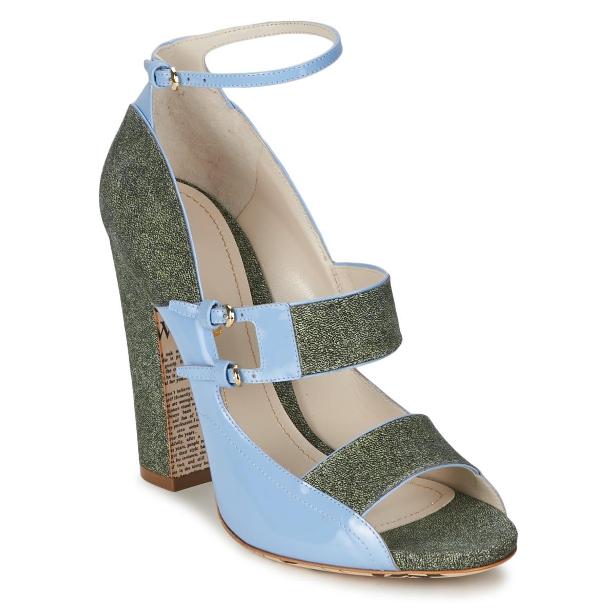 Sandale John Galliano A54250 Bleu / Vert