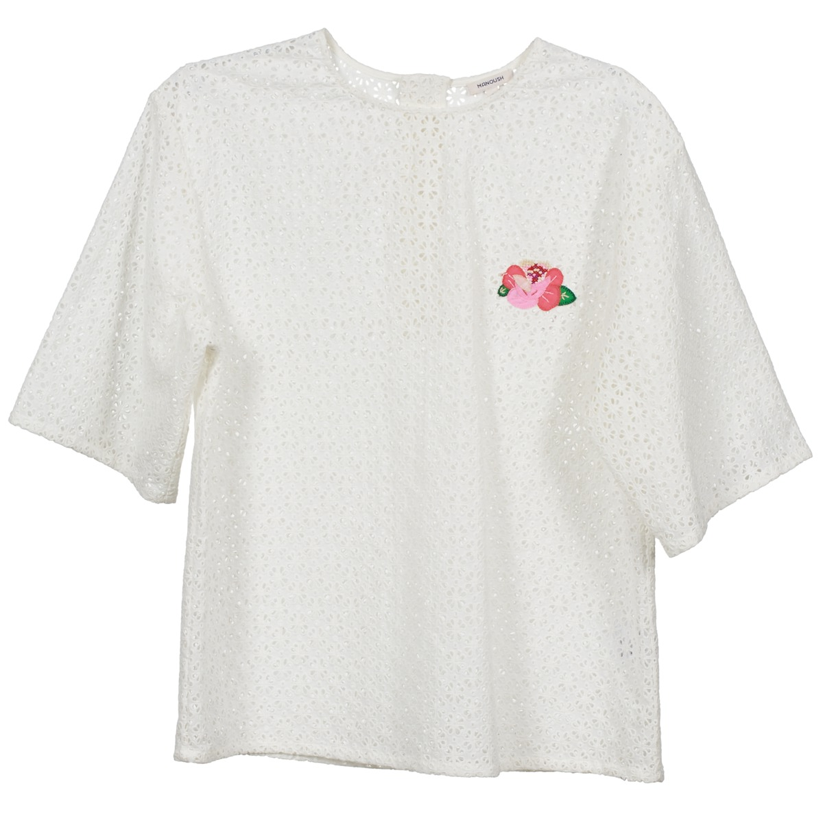 Blouses Manoush FLOWER BADGE Blanc