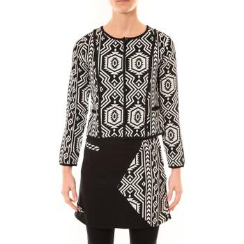 Vêtements Femme Vestes / Blazers Bamboo's Fashion Veste Chiner BW682 noir et blanc Noir