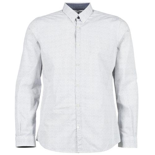 Vêtements Homme Chemises manches longues Tom Tailor MARCHALO Blanc / Marine