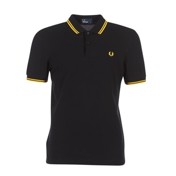 Vêtements Homme Polos manches courtes Fred Perry TWIN TIPPED FRED PERRY SHIRT Noir / Jaune