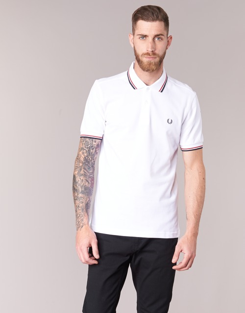 Courtes The Fred Manches Perry Shirt Homme BlancRouge Polos TK3F1Jcl