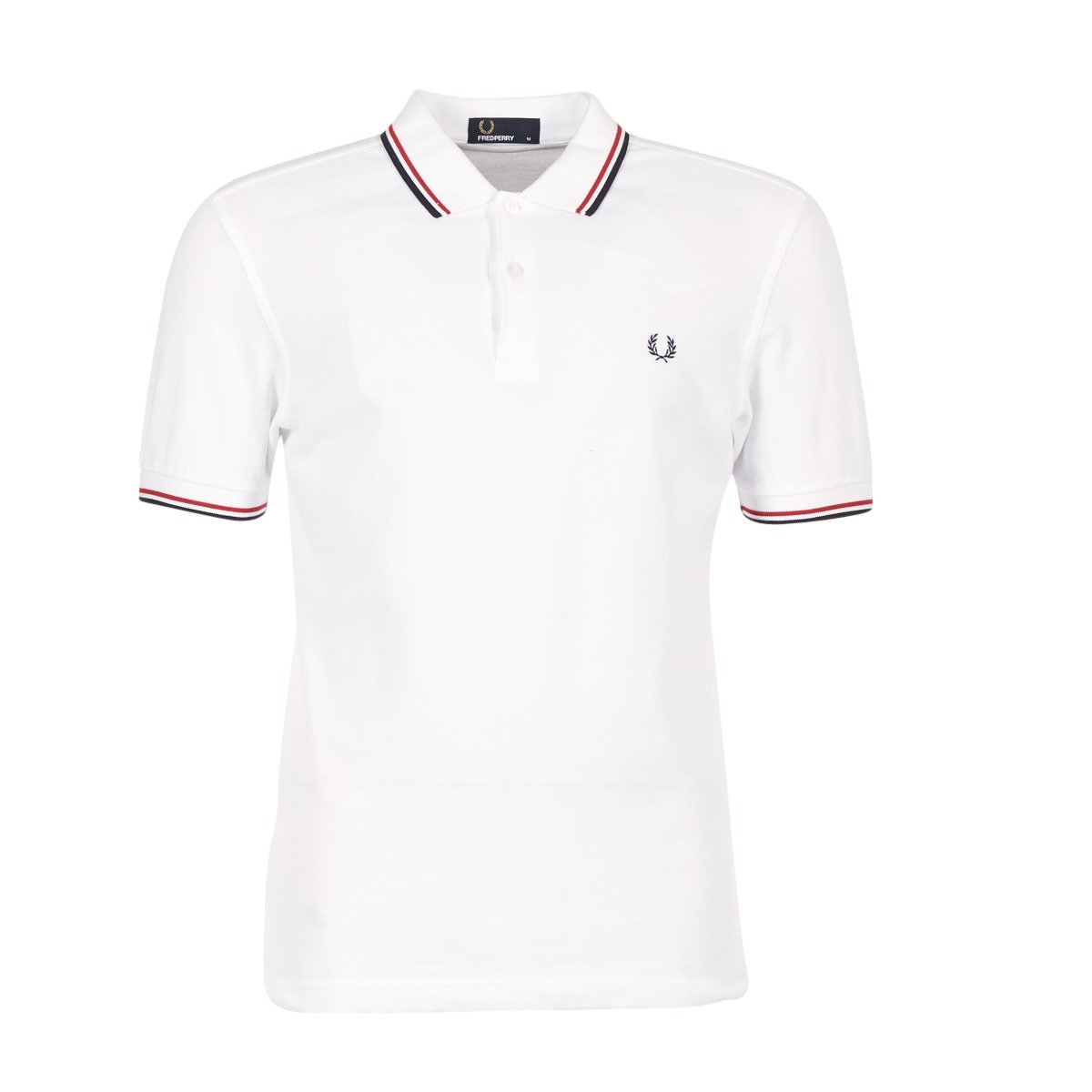 Fred Perry TWIN TIPPED SHIRT Blanc / Rouge
