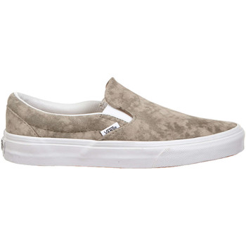 Chaussures Femme Slips on Vans Baskets Femme Slip On U Classic  Metallic Marbree Kaki Blanc Kaki