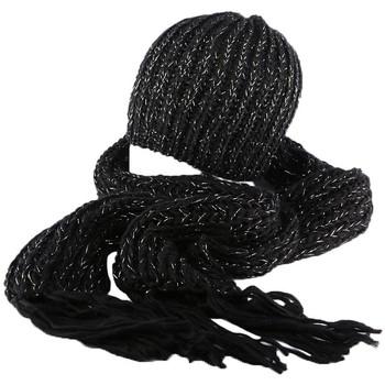 Ensembles enfant Nyls Création Bonnet et écharpe noir Rita par