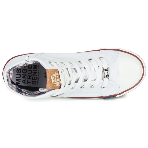 Gallego Blanc Baskets Mustang Femme Montantes PkiuZOX