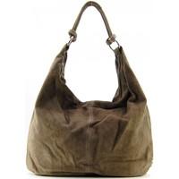 Sacs porté épaule Oh My Bag Sac à main cuir veau velours femme - Modèle Love taupe foncé