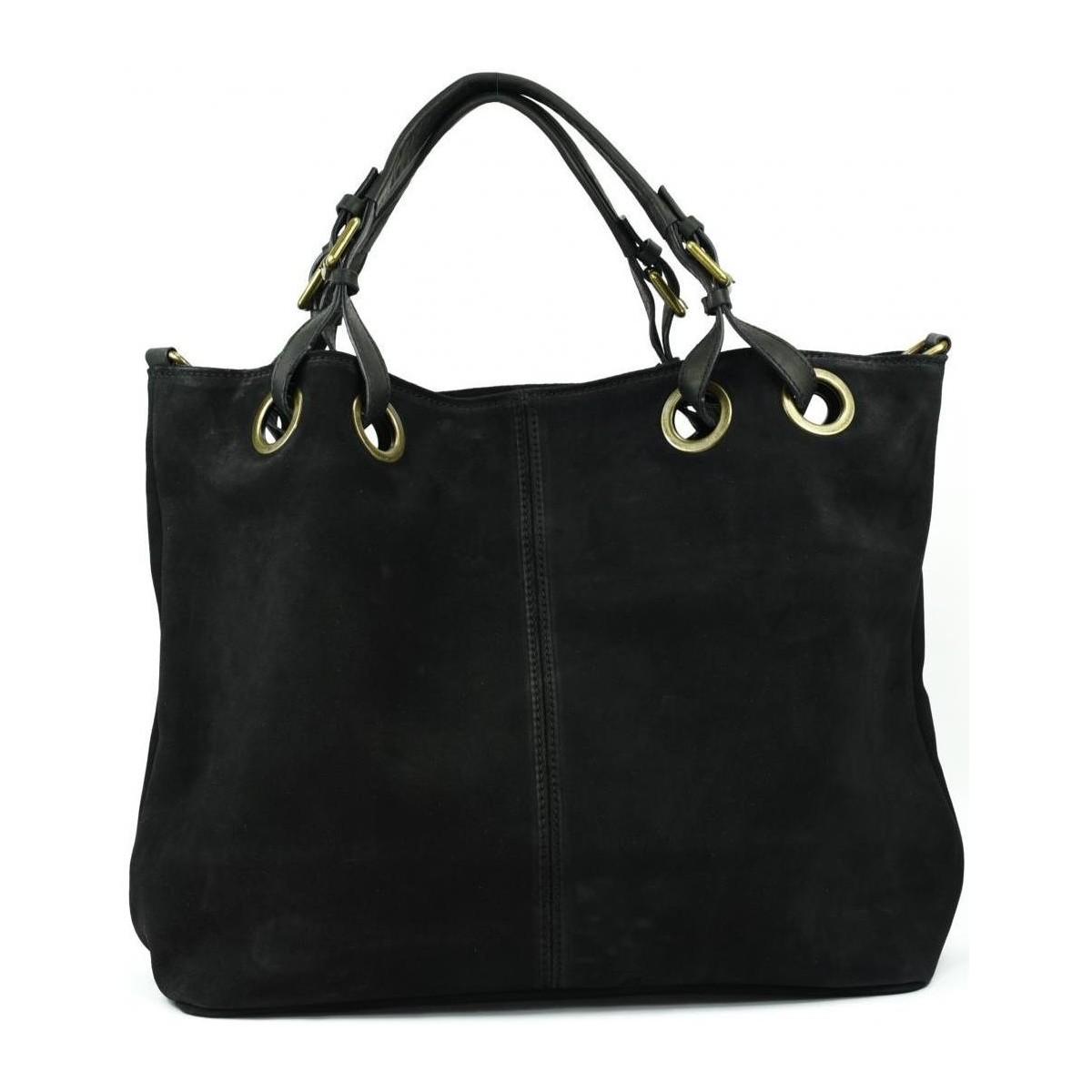oh my bag sac main cabas cuir nubuck femme mod le op ra noir noir sacs sacs port main. Black Bedroom Furniture Sets. Home Design Ideas