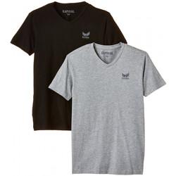 Vêtements Garçon T-shirts manches courtes Kaporal Pack de 2 T-Shirts  Bift Grey Mel/Black Gris