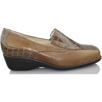 Chaussures Femme Mocassins Sana Pies La santé des pieds des mocassins en cuir verni à l'aise BRUN