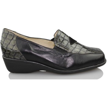 Chaussures Femme Mocassins Sana Pies La santé des pieds des mocassins en cuir verni à l'aise NOIR
