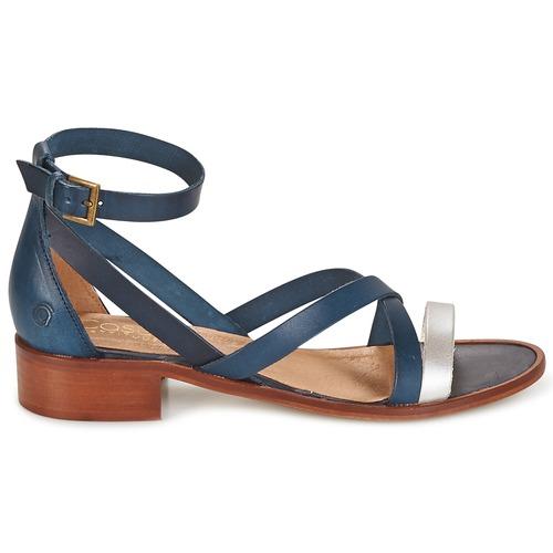 Bleu Coutil Nu Et Sandales Attitude Femme pieds Casual mnwNv08
