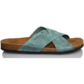 Chaussures Homme Mules Interbios Sandale confortable vrai homme BLEU