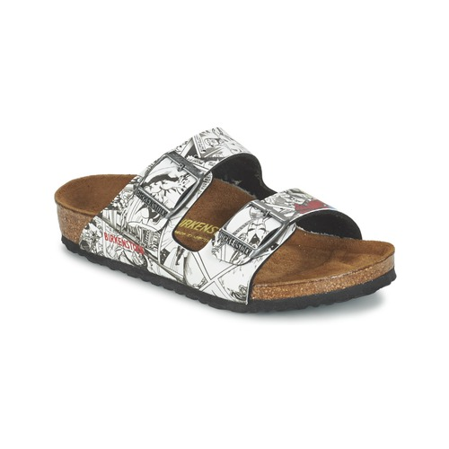 Chaussures Garçon Mules Birkenstock ARIZONA Noir / Blanc