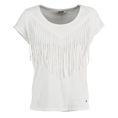 Vêtements Femme T-shirts manches courtes Mustang FRINGE Blanc
