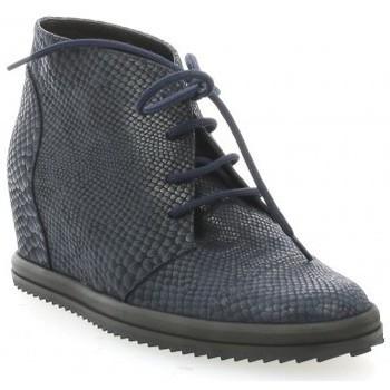 Chaussures Femme Derbies Benoite C Derby cuir serpent Bleu