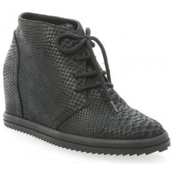 Chaussures Femme Derbies Benoite C Derby cuir serpent Noir