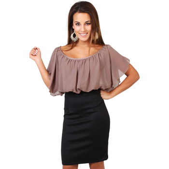 Vêtements Femme Robes courtes Krisp Mini Robe Crayon 2 en 1 Froncée Mousseline Marron