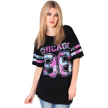 Vêtements Femme T-shirts manches courtes Krisp Top T Shirt Long Oversized Femme Am Noir.