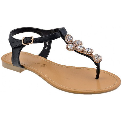 Chaussures Femme Tongs F. Milano Pierres et strass Tongs Noir