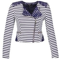 Vêtements Femme Vestes / Blazers Morgan VMEL Marine / Blanc