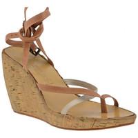 Chaussures Femme Tongs Janet&Janet 5801 Zeppa 90 Tongs Beige