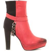 Chaussures Femme Bottines Ilario Ferucci Ilario Ferrucci Bottines en cuir Gibus rouge Rouge