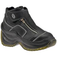 Chaussures Femme Baskets montantes Zone Plate-forme de Slim Zip Talon compensé Noir