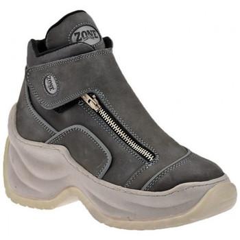 Chaussures Femme Baskets montantes Zone Plate-forme de Slim Zip Talon compensé Gris