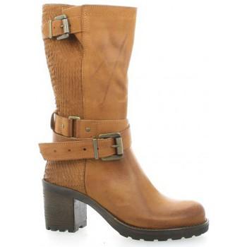 Chaussures Femme Bottes ville Pao Mi-bottes cuir python Cognac