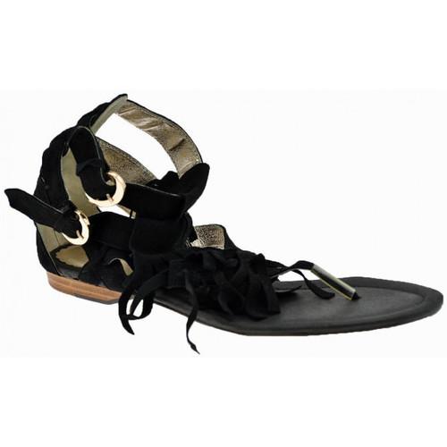 Chaussures Femme Tongs Swish Esclave 2 Buckles Tongs Noir