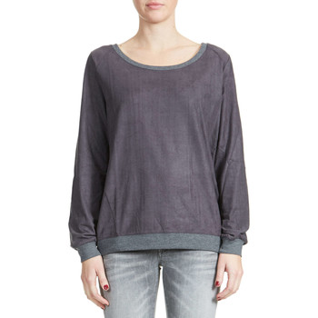 T-shirts manches longues Yaya Top Ml Col Rond Suedine  Gris Fonce