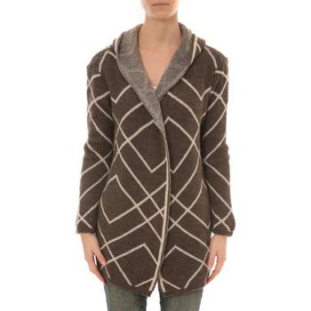 Vêtements Femme Gilets / Cardigans De Fil En Aiguille GILET CAPUCHE ZINKA 2135 TAUPE Marron